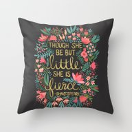 Throw Pillow featuring Little & Fierce On Charc… by Cat Coquillette