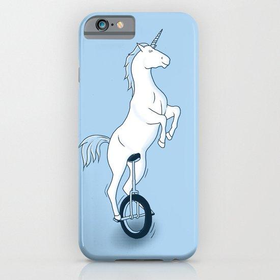 Unicorn on a unicycle - blue iPhone & iPod Case