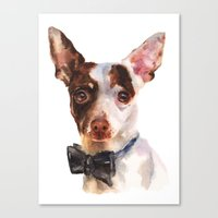 Chihuahua, dog painting, puppy prints, bow tie, watercolor Canvas Print