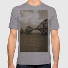 Forth Bridge, Scotland, in Sepia Mens Fitted Tee Athletic Grey SMALL