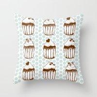 Retro Cupcakes Throw Pillow