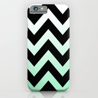 iPhone & iPod Case featuring BLACK CHEVRON MINT FADE by natalie sales