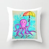Octopus and Umbrella - watercolor Throw Pillow
