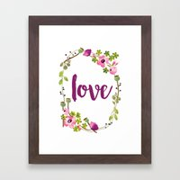Floral Wreath Watercolor - Love - by Sarah Jane Design Framed Art Print