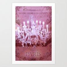 Paris Pink Crystal Chandelier Art Print