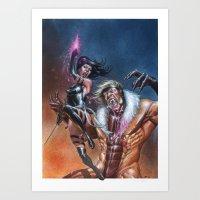Psylocke Vs Sabretooth Art Print