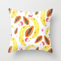 tropical juice (white) Throw Pillow