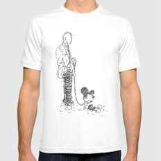 Walking the Dog White Mens Fitted Tee SMALL