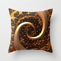 Golden Spirals Throw Pillow