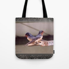 Barn Swallows With Nest Materials Tote Bag