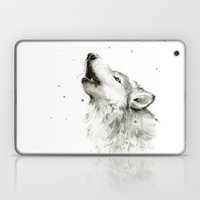Wolf Howling Watercolor Wildlife Painting Laptop & iPad Skin