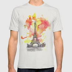 Eiffel Tower in Paris France Mens Fitted Tee Silver SMALL