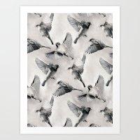 Sparrow Flight - Monochr… Art Print