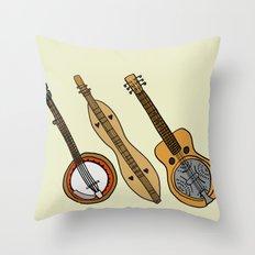 Banjo, Dulcimer, Resonator Throw Pillow