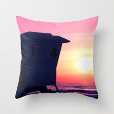 Mission Beach Sunset Throw Pillow