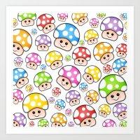 Iddy Diddy Mushrooms  Art Print