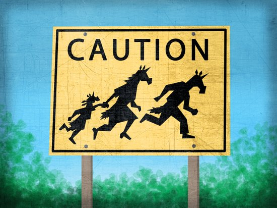 Caution Unicorns Art Print
