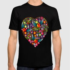 my heart has wings SMALL Black Mens Fitted Tee