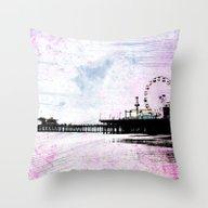 Santa Monica Pier Pink G… Throw Pillow