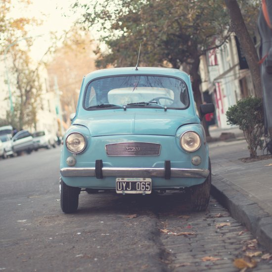 Mint - Blue Retro Fiat Car  Art Print