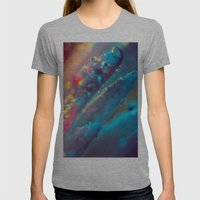 Electric Blue Floral Dew   Womens Fitted Tee Athletic Grey SMALL