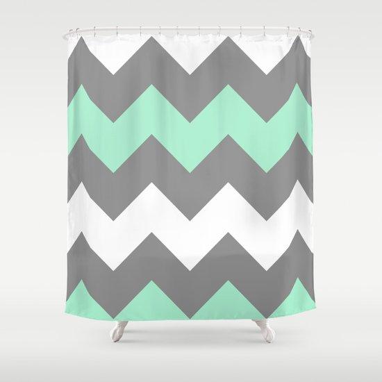 Mint White Grey Chevron Shower Curtain By CreativeAngel