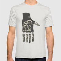 Give Yourself Away - Hand drawn Mens Fitted Tee Silver SMALL