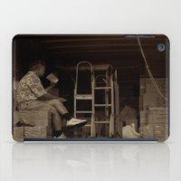 Man eating inside the van. Chinatown, New York City iPad Case