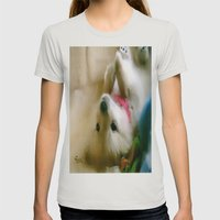 PUPPY PAWS Womens Fitted Tee Silver SMALL