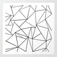 Abstract Dotted Lines Black and White Art Print