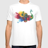 colorful peacocks Mens Fitted Tee White SMALL