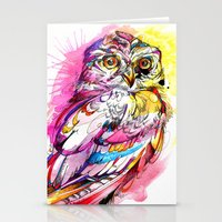 Neon Northern Pygmy Owl Stationery Cards