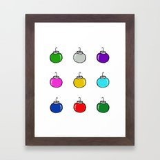 Colorful Christmas Baubles Framed Art Print