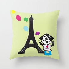 Puppy selfie in PARIS Throw Pillow