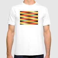 multicolor diamond pattern Mens Fitted Tee White SMALL
