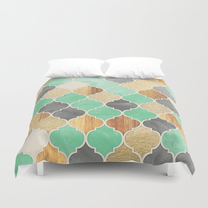 Charcoal Mint Wood Amp Gold Moroccan Pattern Duvet Cover