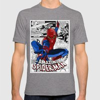 Spider-Man Comic Mens Fitted Tee Tri-Grey SMALL