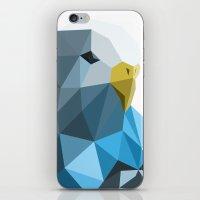 Geometric blue parakeet iPhone & iPod Skin