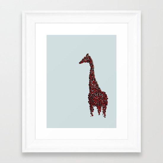 Red Giraffe Framed Art Print