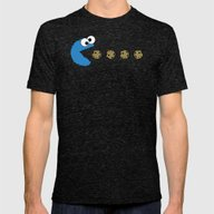 Cookie Monster Pacman Mens Fitted Tee Tri-Black SMALL