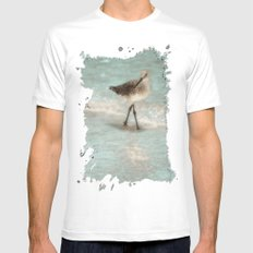 Bird Walking On The Beach SMALL White Mens Fitted Tee