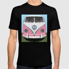 The Pink  VW Love Bus of Peace  SMALL Mens Fitted Tee Black