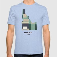 Idaho State Map Mens Fitted Tee Tri-Blue SMALL