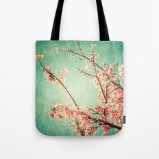 Pink Autumn Leafs on Blue Textured Sky (Vintage Nature Photography) Tote Bag