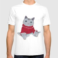 Cozy Cat Mens Fitted Tee White SMALL