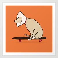 Cone Of Shame Won't Stop… Art Print