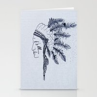 native american Stationery Cards featuring Native American by Anna Flowers