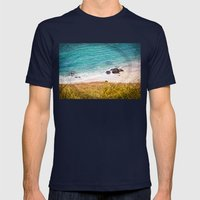 Rocks and Ocean View Mens Fitted Tee Navy SMALL