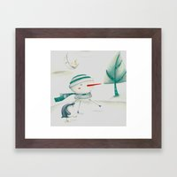 Snowman and friend Framed Art Print