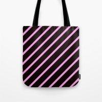 Pink & Black Stripes Tote Bag